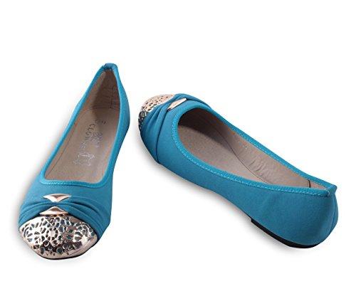 Stylische Damen Ballerinas mit vergoldeter Metallzierblende Blue