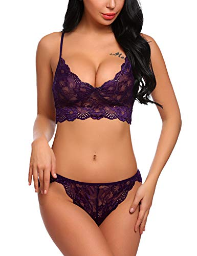 - ADOME Women's Lace Lingerie Bra and Panty Set Strappy Babydoll Bodysuit (XL, Purple)