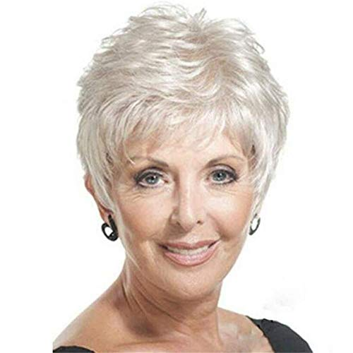 YOURWIGS 2019 Lace Wigs Wig Short Straight Hairstyles White Fluffy Wig Party for Old Women Mother Wigs (White), White