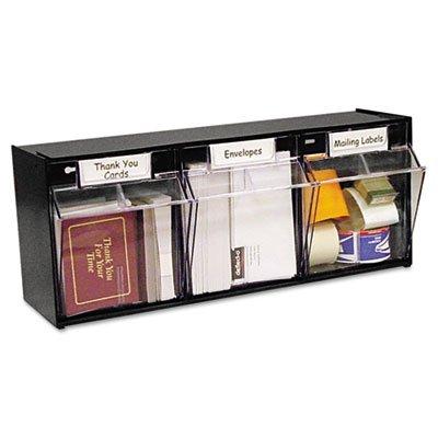 Tilt Bin Plastic Storage System, 3 Bins, 23 5/8 x 7 3/4 x 9 1/2, Black, Sold as 1 Each