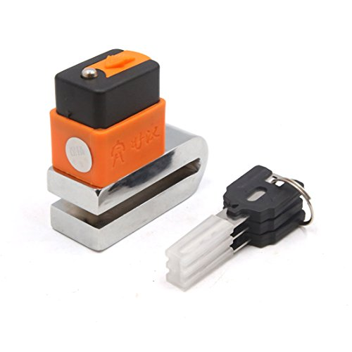uxcell Motorcycle Safety Security Brake Disc Lock w 3 Keys Orange Black Silver Tone