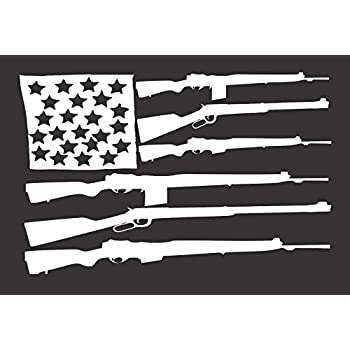 Amazoncom Flag Guns USA Die Cut Vinyl Window DecalSticker For - Die cut window decals