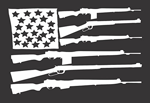 Barking Sand Designs Flag Guns USA - Die Cut Vinyl Window Decal/Sticker for Car/Truck 8.5