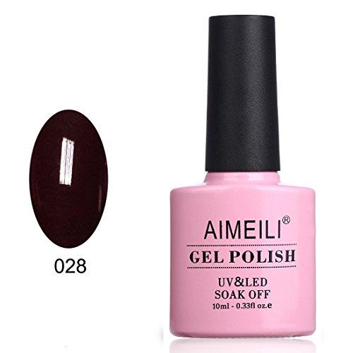 AIMEILI Soak Off UV LED Gel Nail Polish - Burgundy Brown  10