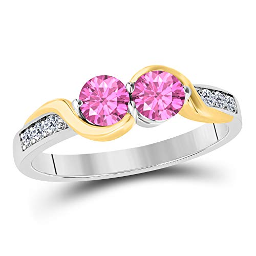 DreamJewels 1.50 Carat Forever Us Created Pink Sapphire 14K Two Tone Gold Plated Prong Set Two Stone Engagement Ring Sterling Silver Base (Yellow) - Pink Sapphire Two Tone Ring