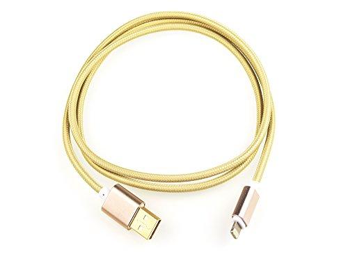 Original iProtect Lightning USB 1m Nylon Ladekabel Datenkabel knotenfrei für Apple iPhone mit Lightning Anschluss in gold 2