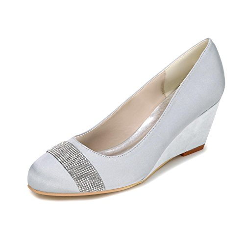 L@YC Women'S Wedge Wedge High-Heeled Wedding Shoes Customization 9140-04 Comfortable Multi-Color Large Yards Silver