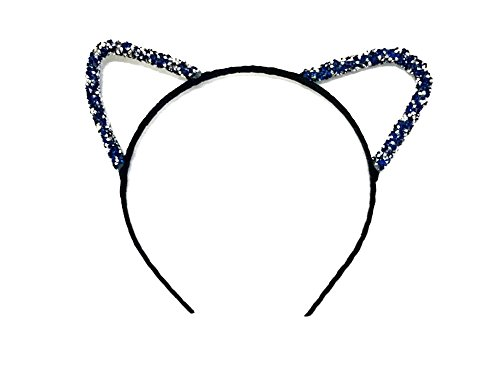 MeeThan Crystal Rhinestone Metal Cat Ear Headband :H10 - Glasses Cancelling Light Blue