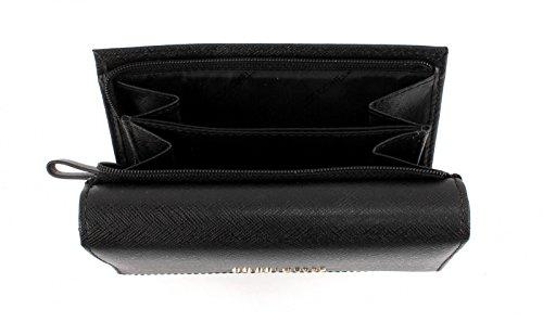 COCCINELLE Metallic Saffiano Flap Wallet Black