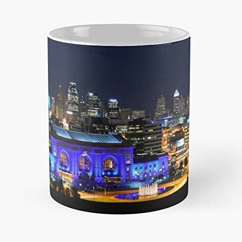 Kansas City Missouri Union Station Blue - White -coffee Mug- Unique Birthday Gift-the Best Gift For Holidays- 11 - Union City Station