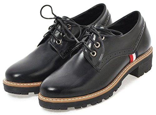 Heel Black Toe Oxfords Women's Low Round Brogues Lace Shoes Stylish Low Mofri Top up Shoes Block XZ7Bw
