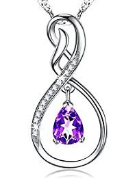 Christmas Jewelry Gift Natural Amethyst Gemstone Jewelry Infinity Necklace Sterling Silver for Her