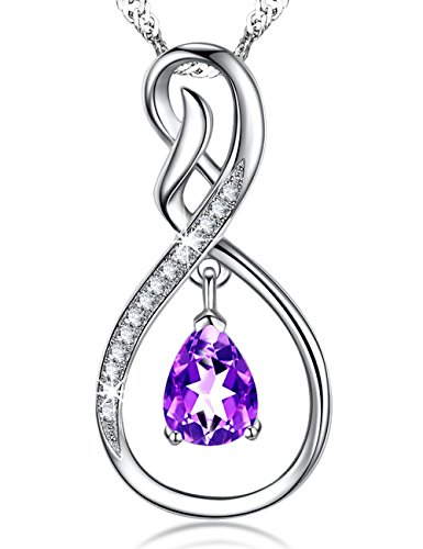 Elda&Co Natural Amethyst Gemstone Infinity Pendant Birthstone Necklace Fine Dangling Sterling Silver Jewelry Anniversary Gift For Her For Wife (Jewelry Diamond Amethyst Pendant)