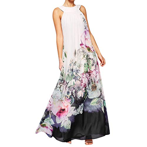 Womens Dresses Special Occasion 2019 Summer Elegant Sleeveless Chiffon Vintage Floral Print Maxi Evening Dress White