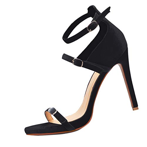 Women's Sandals High Heel Sexy Stiletto Open Toe Three Buckle Casual Shoes Dress Evening Party US: 5-9 (Dark Gray, US:7-Foot Length:9.7
