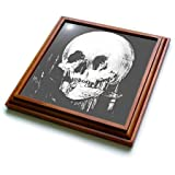3dRose trv_46711_1 All is Vanity-Ghost, Halloween, Optical Illusion, Paranormal, Silhouette, Skeleton Trivet with Ceramic Tile, 8 by 8'', Brown