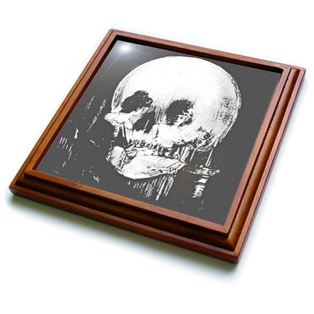 3dRose trv_46711_1 All is Vanity-Ghost, Halloween, Optical Illusion, Paranormal, Silhouette, Skeleton Trivet with Ceramic Tile, 8 by 8'', Brown by 3dRose