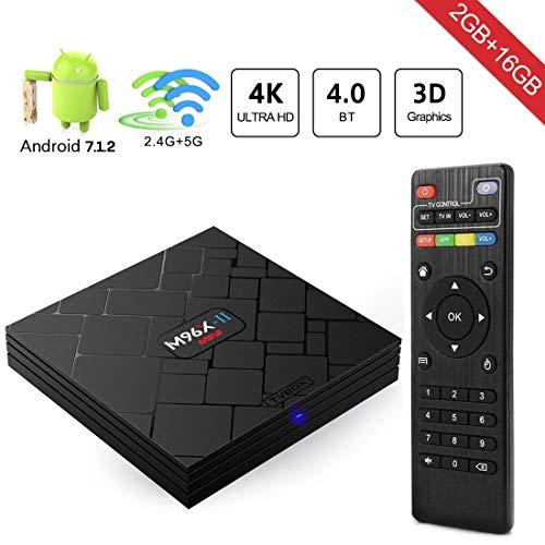Aumkoo TV Box Android 7.1 Smart TV Box Quad Core 2GB RAM + 16GB ROM/Soporte HDMI /2.4G/5G Banda Dual WiFi 1000M LAN 4K 3D con...