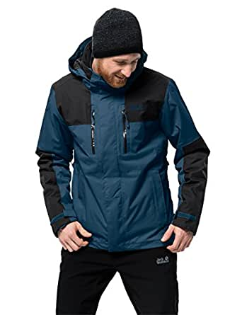 Jack Wolfskin Men's Jasper 3-in-1 Waterproof Insulated Jacket, Poseidon Blue, Small