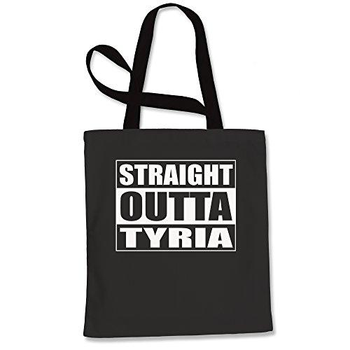 Tote Bag Straight Outta Tyria Gamer Black Shopping Bag