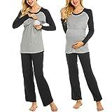 #5: Ekouaer Women's Maternity Pajamas Set Long Raglan Sleeve Baseball Nursing Nightgown for Breastfeeding Sleepwear (S-XXL)
