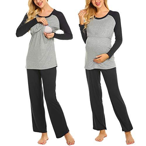 Ekouaer Women's Maternity Pajamas Set Long Raglan Sleeve Baseball Nursing Nightgown for Breastfeeding Sleepwear (S-XXL)