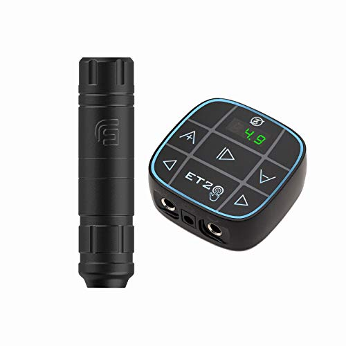 EZTAT2 Gazer Short Rotary Tattoo Pen Machine FAULHABER Coreless DC motor RCA Connector with EZ Easy Touch 2 LED Screen Colorful Voltage Tattoo Digital Power Supply
