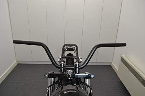 Noir Aluminium 7//8 Brat Motos /& Street Motos Ape Moto Guidon- 22mm pour Rampants