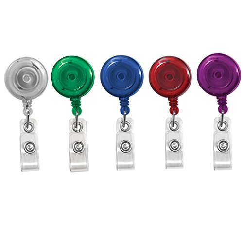 5 Pack - Translucent Assortment Retractable ID Badge Reels with Alligator Swivel Clip by Specialist ID