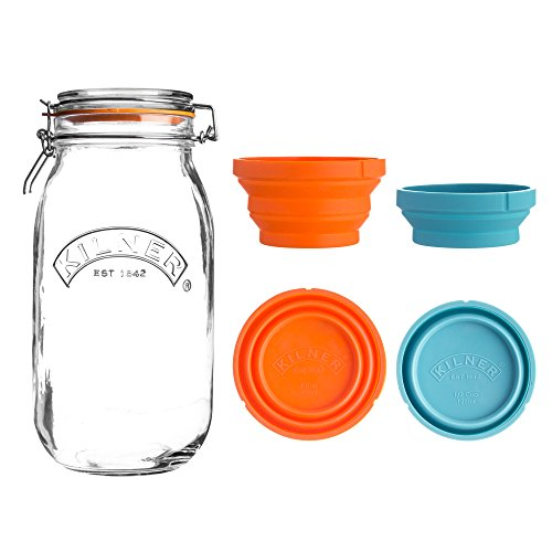 Kilner Store Jar Set, 102-Fluid Ounce Glass Canister with Collapsible Silicone Measuring Cups, Space-Saving & Convenient Design, Airtight Clip Top Lid Keeps Contents Fresh, Dishw