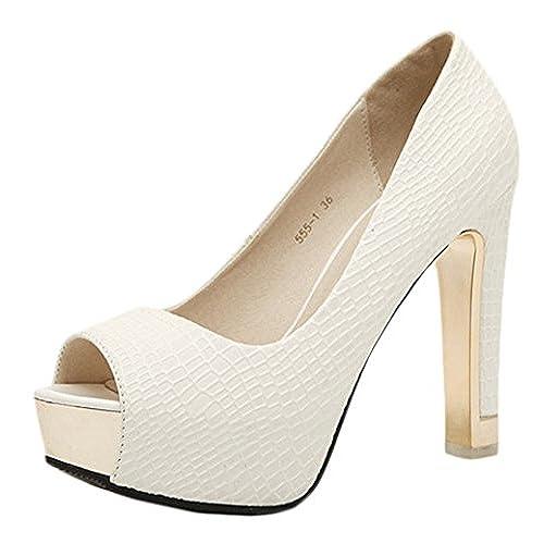 ... Cierre Hebilla bombas talón de alta estiletes plataforma correa tobillo  de tacón de aguja zapatos 81f41f173959