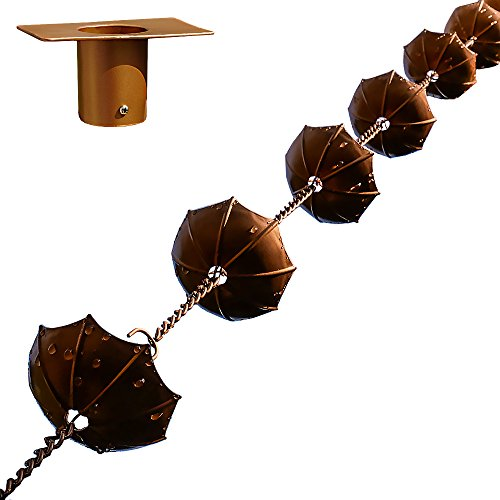 "68"" Decorative Iron Umbrella Rain Chain With Bonus Adapter Installer (Rain Chain Gutter Installation Clip)"