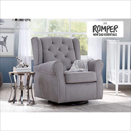 41paz5LJQJL - Delta Children Emerson Upholstered Glider Swivel Rocker Chair, Dove Grey With Soft Grey Welt