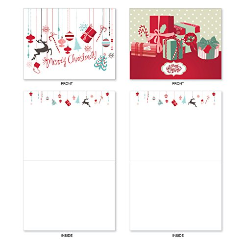 M6663XSB Red And Blue Retro Christmas : 10 Assorted Blank Christmas Note Cards Featuring Charming Christmas and Holiday Designs in Red and Blue, w/White Envelopes. Photo #4