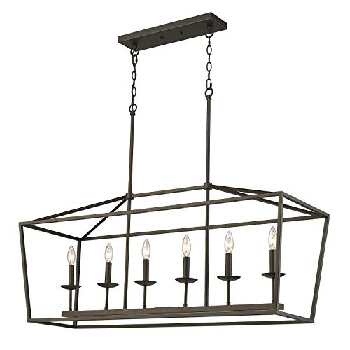 Emliviar 6-Light Kitchen Island Lighting, Modern Linear Pendant Light Fixture, Oil Rubbed Bronze Finish, P3035-6LP