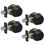 Probrico(4 Pack) Double Cylinder Deadbolt Oil Rubbed Bronze (Keyhole in Both Side), 3 Keys Door Hardware Anti-Theft Lockset, Exterior Gate Locks