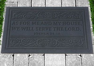 Door Mat, As for Me and My House Grey by CBD