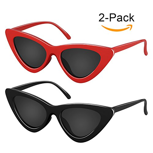 Elimoons Retro Vintage Narrow Cat Eye Sunglasses for Women Clout Goggles Plastic Frame 2 Pack