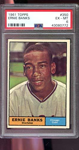1961 Topps #350 Ernie Banks Chicago Cubs MLB PSA 6 Graded Baseball Card (Card Baseball Banks Ernie Graded)