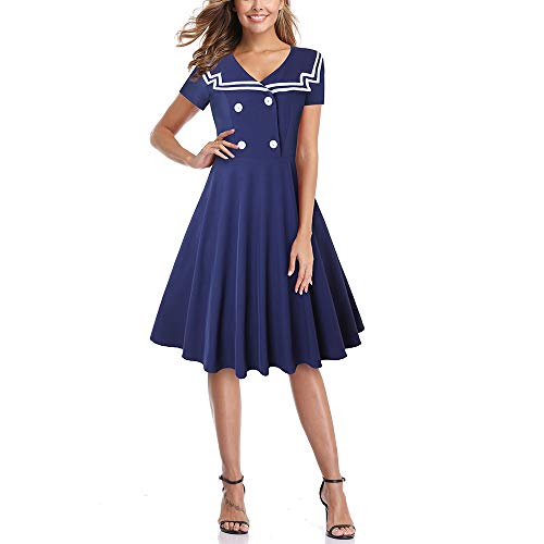 Sailor Dress - MERRYA Women's Vintage 1950s Sailor Short