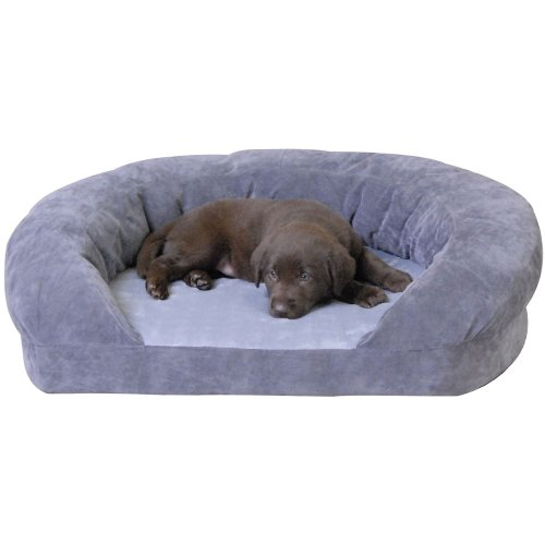 KandH Ortho Bolster Sleeper Pet Bed, XLarge 50-Inch Round, Gray Velvet,, My Pet Supplies