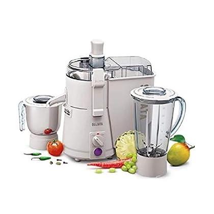 Sujata Powermatic Plus, Juicer Mixer Grinder, 900 Watts, 2 Jars (White)