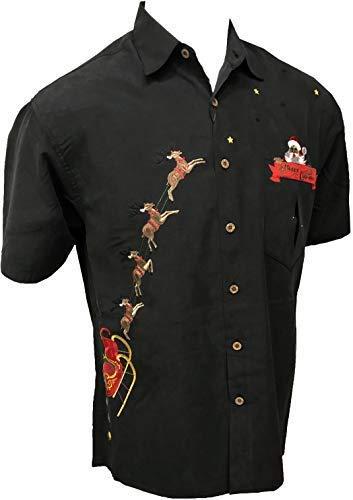 Bamboo Cay Hawaiian Santa Peekaboo Embroidered Christmas Shirt for Men