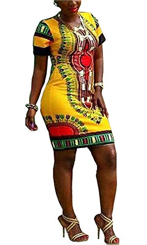 Knight Horse Women Traditional African Print Dashiki Bodycon Plus Size Short Sleeve Dress Yellow (Modern African Clothing)
