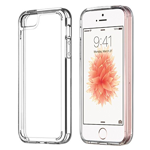 Premium Crystal Hard (iPhone SE Case, UARMOR Transparent Crystal Clear Premium Protective Case Hard 3H PC Back Cover Flexible TPU Bumper for Apple iPhone SE 2016 & iPhone 5 5s (Clear))