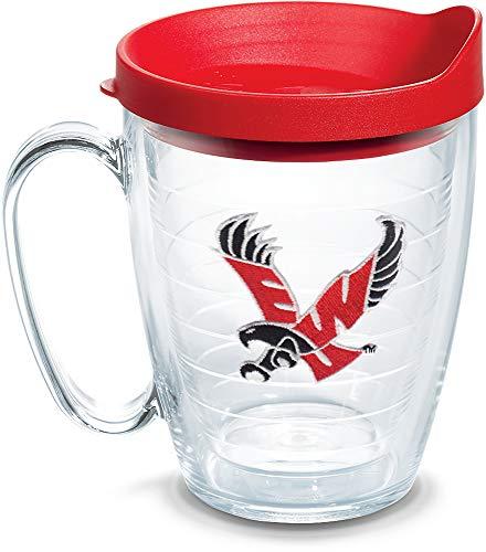 Tervis 1079147 Eastern Washington Eagles Logo Tumbler with Emblem and Red Lid 16oz Mug, Clear