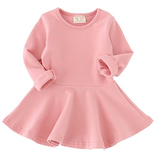 Csbks Toddler Baby Girls Long Sleeve Cotton Dress Solid Ruffle Tops 2T Pink