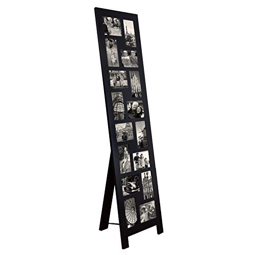Adeco PF0558 16-Opening Black Wood Floor-Standing Easel Photo Frame, 4 by 6