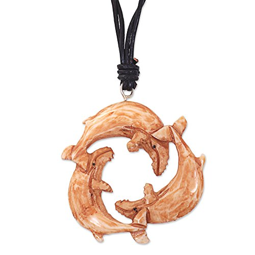 NOVICA Carved Cow Bone Leather Ocean Life Pendant Necklace, 12.75