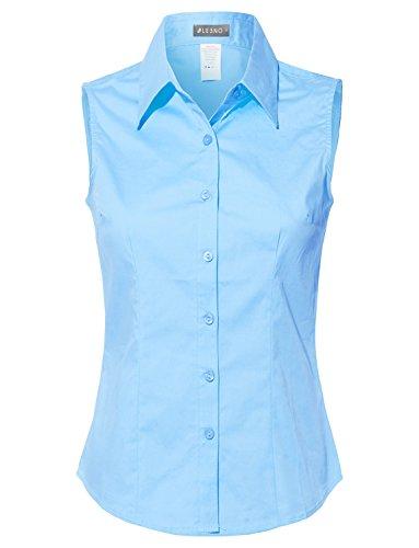 LE3NO Womens Lightweight Cotton Sleeveless Button Down Shirt Babyblue